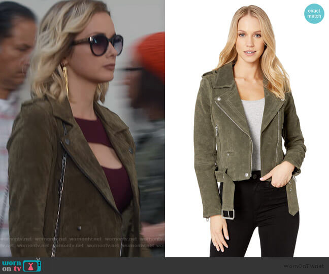 Suede Moto Jacket in Herb by Blank NYC worn by Allie Macdonald on What/If