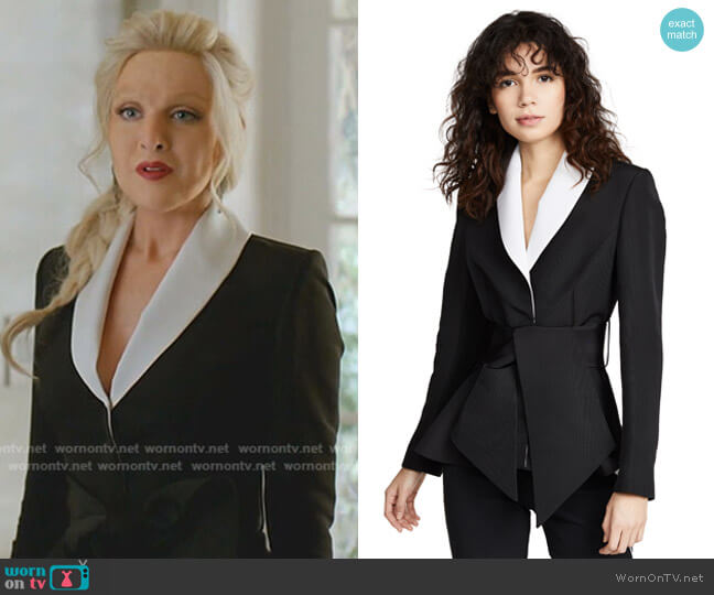 Tuxedo Peplum Jacket by Brandon Maxwell worn by Alexis Carrington (Nicollette Sheridan) on Dynasty