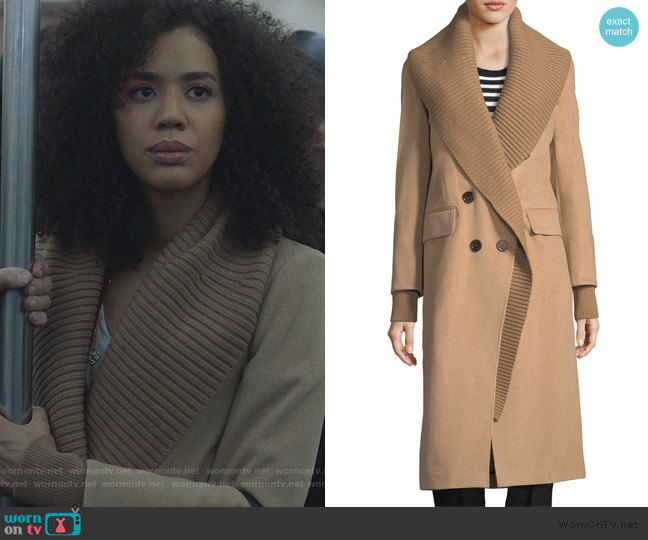 Double-Breasted Rib-Collar Coat by Burberry worn by Allison Adams (Jasmin Savoy Brown) on For the People