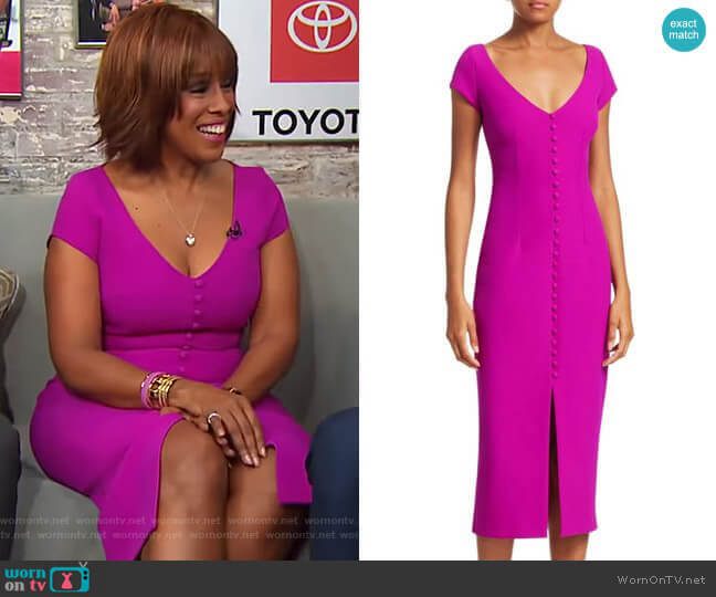 Buttoned Crepe Cocktail Dress by Safiyaa worn by Gayle King (Gayle King) on CBS This Morning