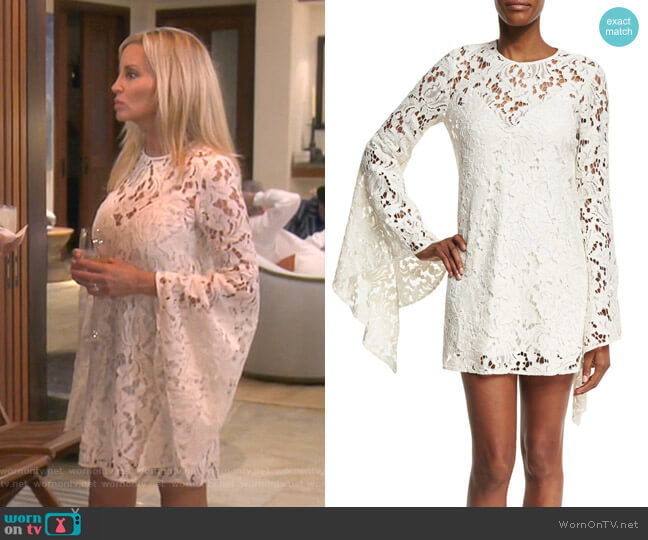 Farrow Bell-Sleeve Lace Cocktail Dress by Camilla and Marc worn by Camille Grammer  on The Real Housewives of Beverly Hills