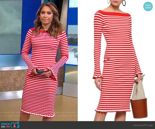 Off-the-Shoulder Striped Ribbed-Knit Dress by Caroline Constas  worn by Ginger Zee  on Good Morning America