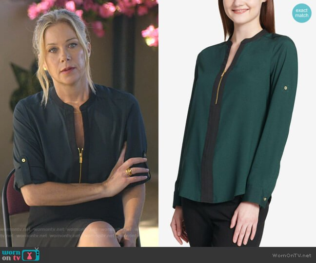 Two-tone Zip Blouse in Green by Calvin Klein  worn by Jen Harding (Christina Applegate) on Dead to Me