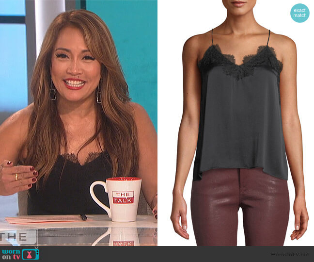 The Racer Silk Cami by Cami NYC worn by Carrie Inaba  on The Talk