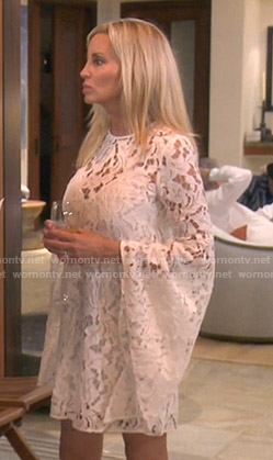Camille's white bell sleeve lace dress on The Real Housewives of Beverly Hills