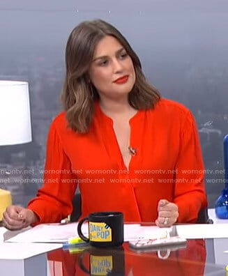 Carissa's red wrap top on E! News Daily Pop