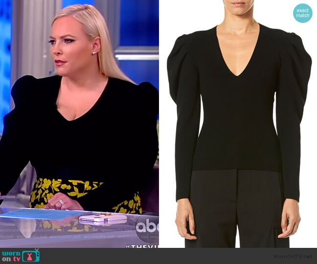V-Neck Puff-Sleeve Fitted Knit Pullover by Carolina Herrera worn by Meghan McCain  on The View
