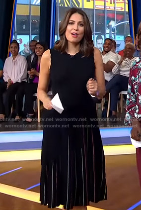 Cecilia's black scalloped pleated dress on Good Morning America