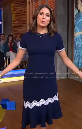 Cecilia's navy astmmetric dress on Good Morning America