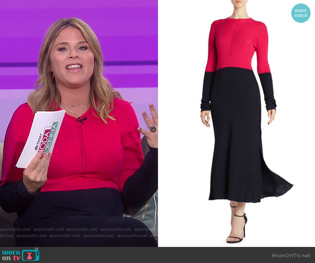 Colorblock Rib-Knit Dress by Colorblock Rib-Knit Dress by Cedric Charlier worn by Jenna Bush Hager  on Today