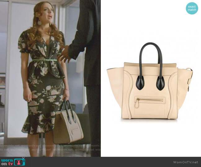 Satin Calfskin Mini Luggage by Celine worn by Fallon Carrington (Elizabeth Gillies) on Dynasty