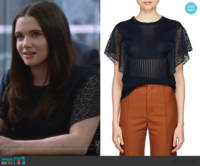 Knit & Lace Top by Chloe worn by Jane Sloan (Katie Stevens) on The Bold Type