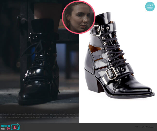 Rylee Lace-Up Box Calf Boot by Chloe worn by Villanelle (Jodie Comer) on Killing Eve