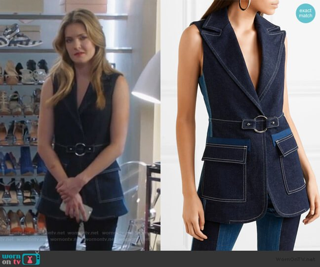 Two-tone Denim Vest by Chloe worn by Sutton (Meghann Fahy) on The Bold Type