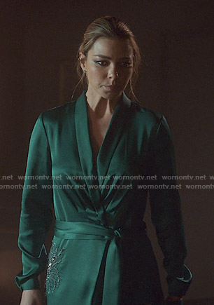 Chloe's green embellished wrap dress on Lucifer