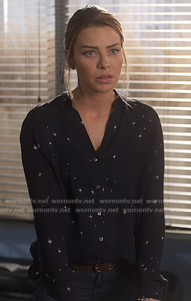 Chloe's navy star print blouse on Lucifer