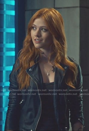 Clary's blue leather moto jacket on Shadowhunters