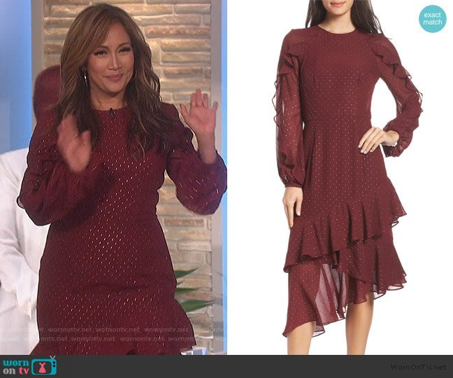 Texture Dot & Ruffle Chiffon Dress by Cooper St worn by Carrie Inaba  on The Talk