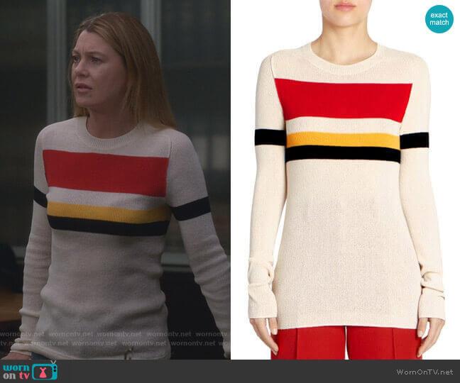 Cotton-Blend Striped Sweater by Victoria Beckham worn by Meredith Grey (Ellen Pompeo) on Greys Anatomy