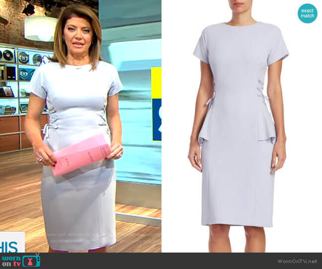 Crepe Peplum Dress by Teri Jon by Rickie Freeman worn by Norah O'Donnell (Norah O'Donnell) on CBS This Morning