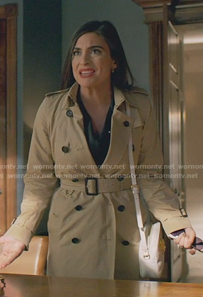 Cristal's beige trench coat  on Dynasty