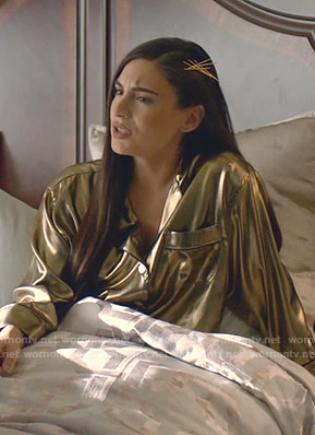 Cristal's gold pajama shirt on Dynasty