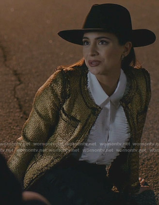 Cristal's metallic tweed jacket on Dynasty