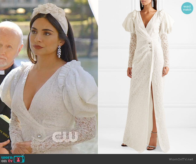 Crystal-Embellished Lace Gown by Alessandra Rich worn by Cristal Jennings (Ana Brenda Contreras) on Dynasty