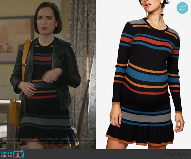Striped Maternity Dress by Cupcakes and Cashmere worn by Jennifer Short (Zoe Lister-Jones) on Life in Pieces