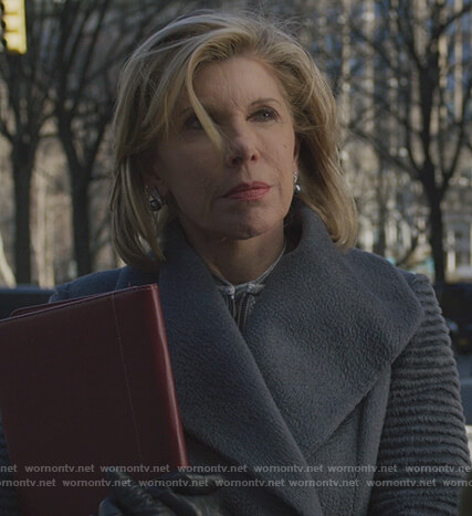 Diane's gray ribbed sleeve coat on The Good Fight