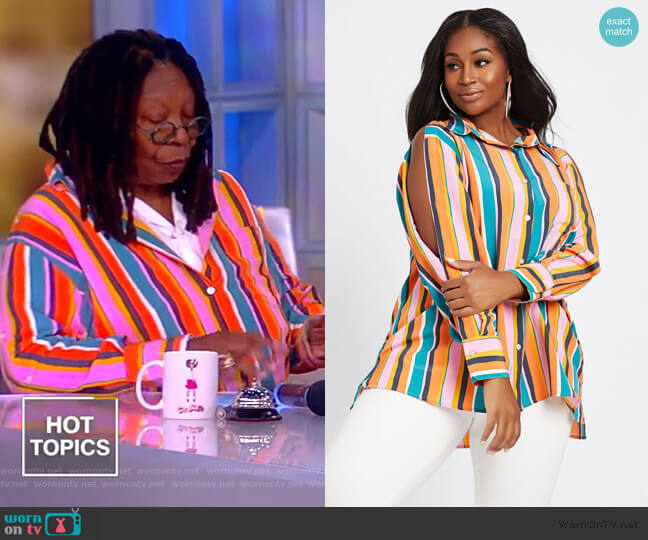 Button Front Shirt by Dubgee by Whoopi worn by Whoopi Goldberg  on The View