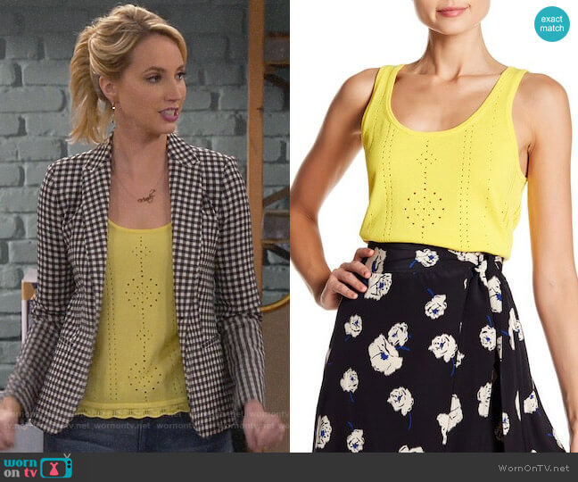 Derek Lam 10 Crosby Pointelle Knit Tank worn by Mandy Baxter (Molly McCook) on Last Man Standing