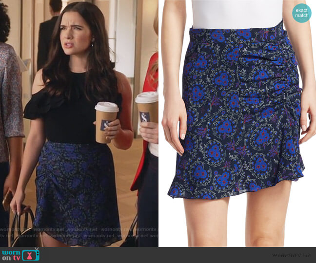 Floral-Print Ruched SIlk Mini Skirt by Derek Lam 10 Crosby worn by Jane Sloan (Katie Stevens) on The Bold Type