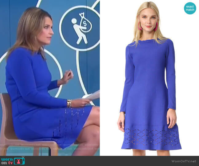 Diamond Laser-Cut Long-Sleeve Dress by Lela Rose worn by Savannah Guthrie  on Today