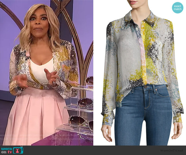 Carter Splatter-Print Silk Blouse by Diane von Furstenberg worn by Wendy Williams  on The Wendy Williams Show