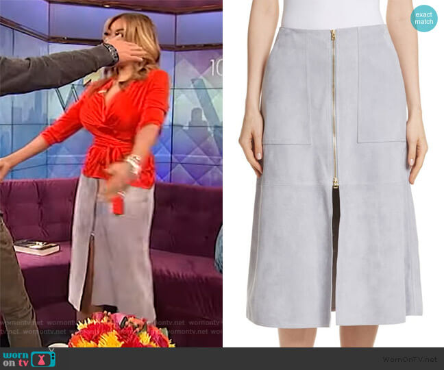 Patch Pocket Suede Midi Skirt by Diane von Furstenberg worn by Wendy Williams  on The Wendy Williams Show