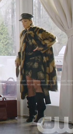Dominique's black palm leaf print shirt and skirt on Dynasty