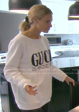 Dorit's white Gucci Sweatshirt on The Real Housewives of Beverly Hills