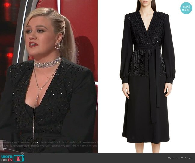 Dove Embellished Long Sleeve Wrap Dress by Dries Van Noten worn by Kelly Clarkson  on The Voice