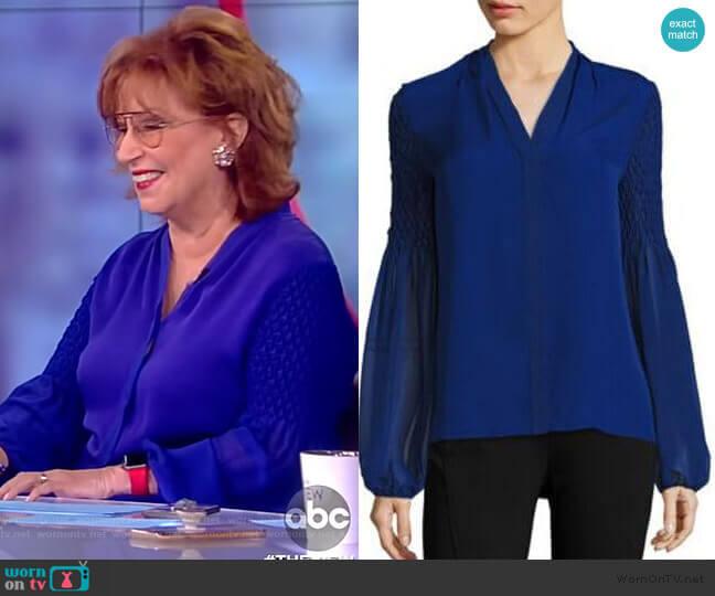 Smocked Georgette Silk Blouse by Elie Tahari worn by Joy Behar  on The View