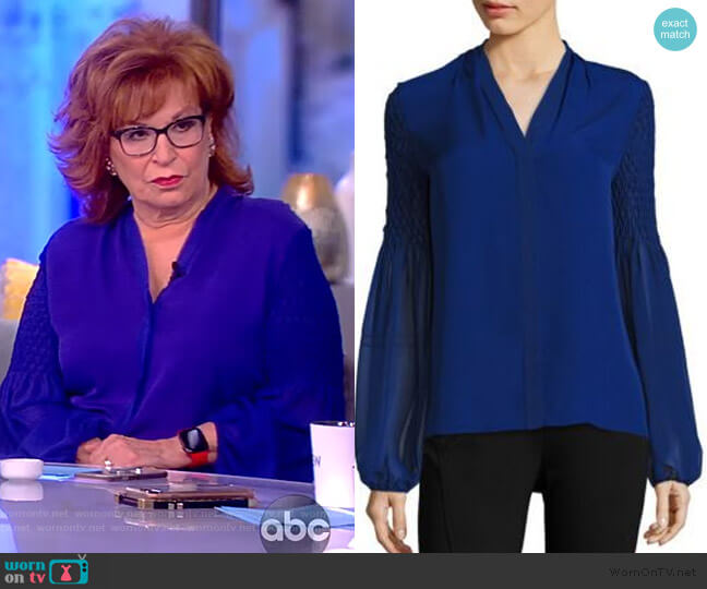 Smocked Georgette Silk Blouse by Elie Tahari worn by Joy Behar  on The View