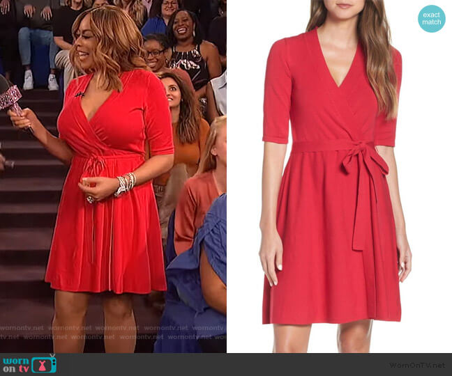 Fit & Flare Wrap Sweater Dress by Eliza J worn by Wendy Williams  on The Wendy Williams Show