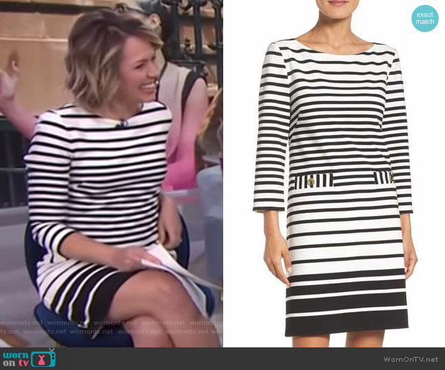 Stripe Shift Dress by Eliza J worn by Dylan Dreyer  on Today