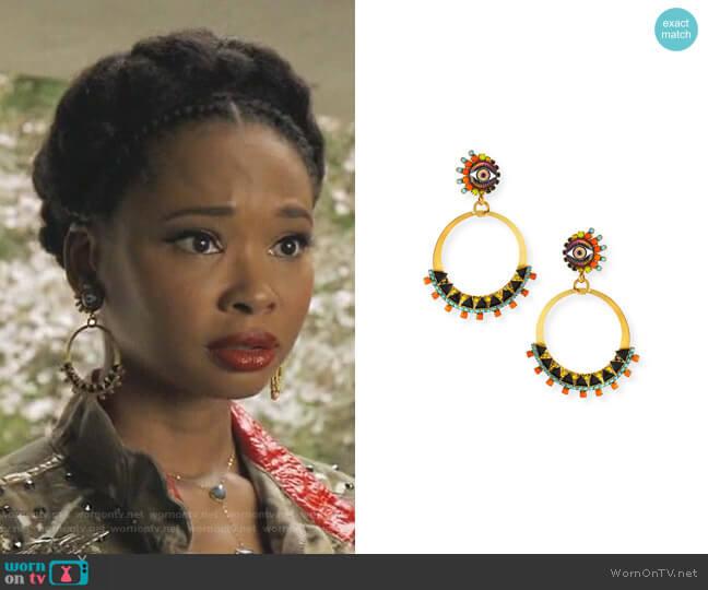 Brandyce Hoop Drop Earrings by Elizabeth Cole worn by Monica Colby (Wakeema Hollis) on Dynasty