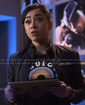 Ella's black rainbow print tee on Lucifer