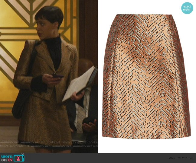 Animal Jacquard A-Line Skirt by Emporio Armani worn by Lucca Quinn (Cush Jumbo) on The Good Fight