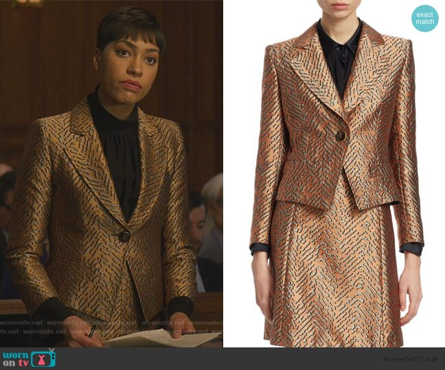 One-Button Animal Jacquard Jacket by Emporio Armani worn by Lucca Quinn (Cush Jumbo) on The Good Fight