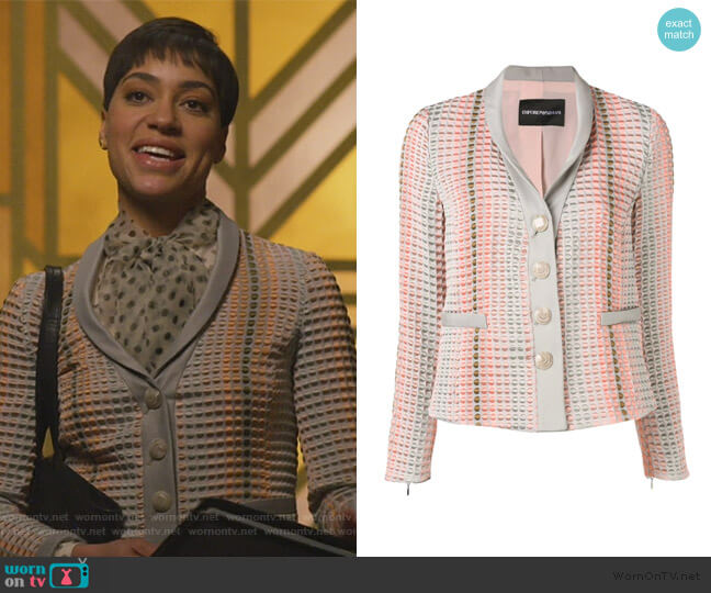 textured button blazer by Emporio Armani worn by Lucca Quinn (Cush Jumbo) on The Good Fight