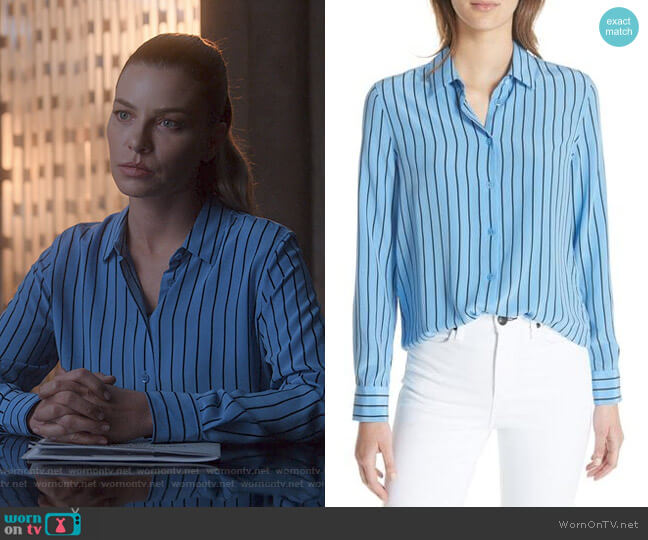Essential Stripe Shirt In Academy Blue by Equipment  worn by Chloe Decker (Lauren German) on Lucifer