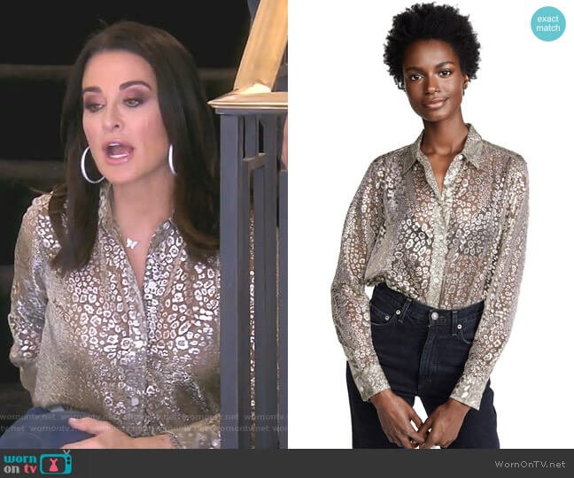 Metallic Leopard Lace Essential Button Down Shirt by Equipment worn by Kyle Richards  on The Real Housewives of Beverly Hills